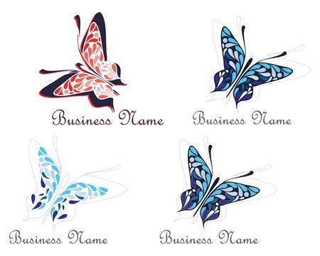slogan: Volando mariposa - signo de nombre de negocio. Ilustraci�n vectorial, s�mbolo - lugar para el nombre de la empresa y el lema.  Vectores