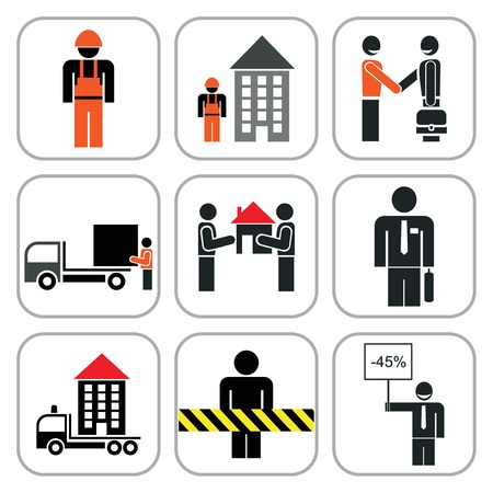 keep out: Set of vector construction icons. Isolated design elements. Building. Stop, keep out, loading area, agreement.