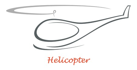 helicopters: Flying helicopter - isolated vector outline on white background. Design element, icon, sign.