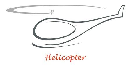 Vliegende helikopter - geïsoleerde vector overzicht op witte achtergrond. Design element, pictogram, teken.