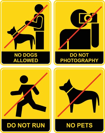 no correr: Conjunto de signos de amarillos y negros. Prohibido, prohibitiva. Sin perros. Hacer no fotografía. No se admiten animales. No ejecute.  Vectores