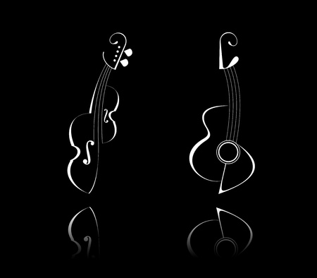 Stylized illustration of guitar and violin. White outline on black background. Isolated design elements, icons. String musical instruments. Reflection.