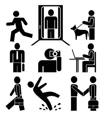 dog run: People at work - set of vector pictograms. Black silhouettes �� white background. Signs, isolated design elements. Simple.