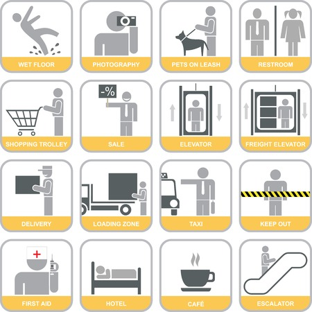 wet floor caution sign: Set of orange and grey vector icons. Can be used for malls, shopping centers, hotels, airports and other public buildings. Isolated information signs, design elements.