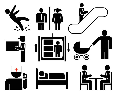 lavatory: People - set of vector icons. Black pictograms on white. Caution - wet floor. Restroom. Elevator, escalator. Delivery. Cafe, restaurant. Meeting. Emergency. Hotel. Man at work. Simple silhouettes, information signs.