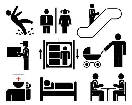 wet floor caution sign: Personas - conjunto de iconos de vector. Pictogramas negros sobre blanco. Precauci�n - piso mojado. Sanitario. Ascensores, escaleras mec�nicas. Entrega. Cafeter�as, restaurantes. Reuni�n. Situaci�n de emergencia. Hotel. Hombre en el trabajo. Siluetas simples, signos de informaci�n.