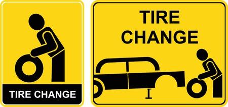 Change Tire - ondertekenen. Geel en zwart pictogram. Man veranderende tire. Auto reparatie, auto-service.