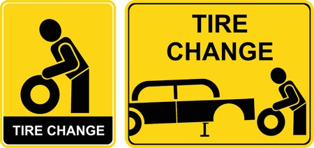 Tire change -  sign. Yellow and black icon. Man changing tire. Auto repair, car service. Vector