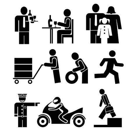 meseros: Conjunto de iconos de personas. Restaurante de camareros y visitante, familia - padre, madre e hija. Hombre monta una bicicleta. Porter con un tranv�a. Vectores
