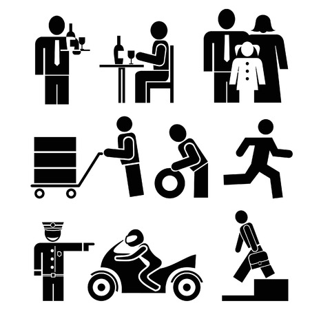číšník: Set of people icons. Waiter and visitor restaurant, Family - father, mother and daughter. Man rides a bike. Porter with a trolley. Ilustrace