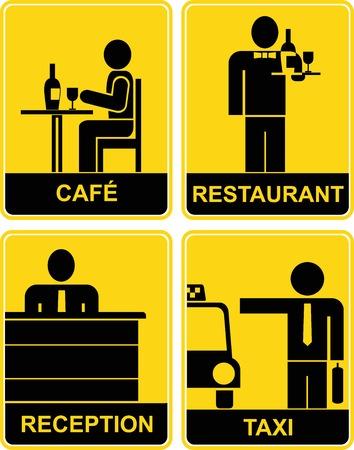 Café, restaurante, taxi, recepción de - conjunto de signos de vector de amarillo y negro.