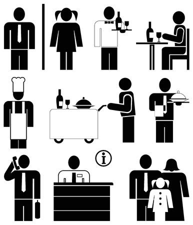 amigos comiendo: Conjunto de iconos de vector para restaurantes y caf�. Pictogramas - personas en el trabajo. Camarero y chef. Familia.  Vectores