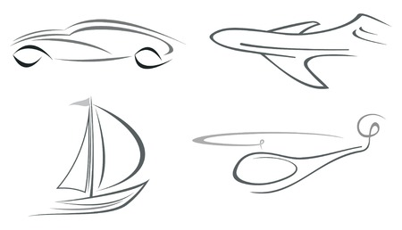 Set of vector icons - airliner, helicopter, vehicle and boat. Isolated outline, design element. Transportation. Can be used as logotypes. Vector