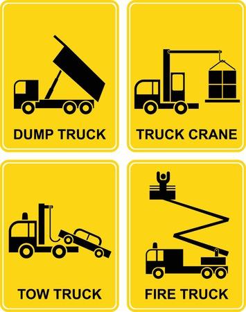 camion pompier: Camion à benne, remorqueuse, camion de pompiers et camion grue - set vecteur signes. Illustrations isolées jaunes et noires. Icônes de transport.