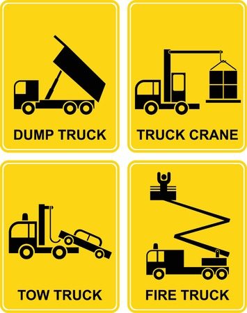 dump truck: Dump truck, tow truck, fire truck and truck crane - set vector signs. Yellow and black isolated illustrations. Transportation icons.