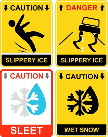 Warning signs - Slippery ice, caution - wet snow, sleet. Yellow and black vector icons. Danger. The falling man. Car skidded off the road.