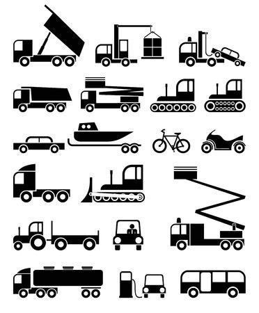 LKW, spezielle Maschinen - festgelegt von schwarzen und weißen Vektor-Icons. Baumaschinen.
