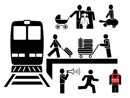 Personas en la estación de ferrocarril - conjunto de iconos de vector. Imágenes de blanco y negro. Hombre se embarca en un viaje. Ilustración de vector