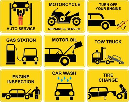 reparation automobile: Ensemble de signes avec des ic�nes de r�paration automobile.  Illustration