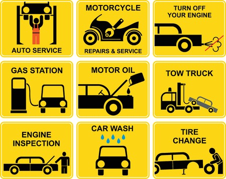oil change: Set of signs with auto repair icons.