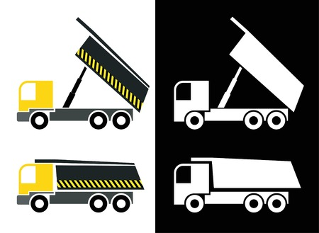 Dump truck - isolated vector icons. Tipper truck. White image on black background. Color illustration. Vector