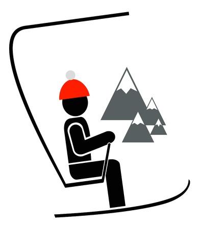 스키: Man with ski on the chair lift at winter resort.