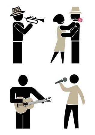 La gente bailando, cantando y tocando instrumentos musicales. M�sico tocando trompeta. Hombre cantando en un micr�fono. Hombre tocando la guitarra. Concierto y baile en una fiesta. Conjunto de iconos vectoriales, im�genes predise�adas. Foto de archivo - 8496048