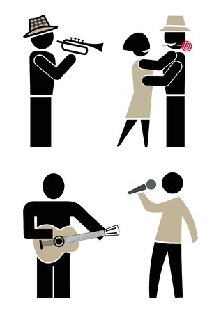 La gente bailando, cantando y tocando instrumentos musicales. Músico tocando trompeta. Hombre cantando en un micrófono. Hombre tocando la guitarra. Concierto y baile en una fiesta. Conjunto de iconos vectoriales, imágenes prediseñadas. Foto de archivo - 8496048