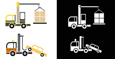 Special Vehicles: tow truck and a crane - vector icons. Stock Vector - 8502306
