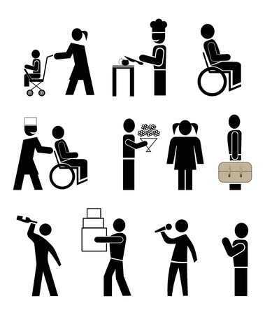 drunk man: set of vector icons - people in action. black pictograms on white