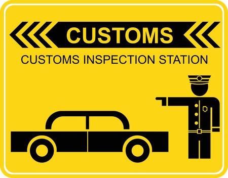 Douane controle station - teken, pictogram. Een zwart beeld op geel.
