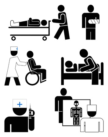 chirurgo: indicazioni per l'ospedale, clinica, asilo, infermeria. Vettoriali