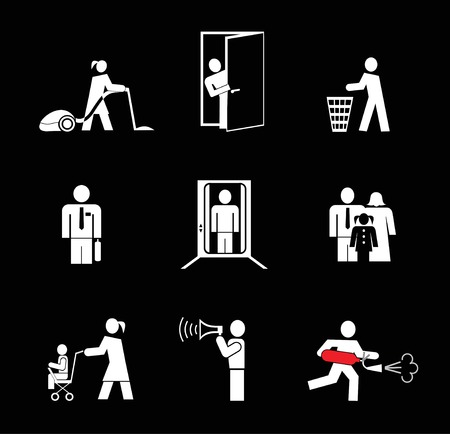 open  women: People at work. Set of simple icons. White on black. Woman vacuuming the floor. Man opened the door, throws trash. Man in an elevator. Fire extinguisher. Woman with a pram.