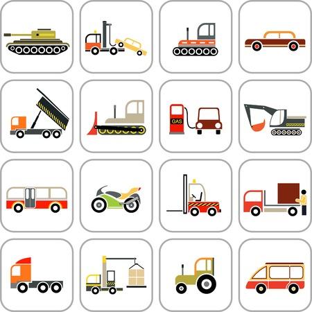 yellow tractor: Veh�culos - conjunto de im�genes en color. Iconos de transporte. Vectores