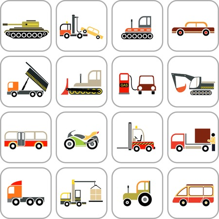 agrimotor: Vehicles - set of color images. Transportation icons.