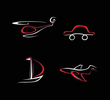 Transport icons on black. White and red illustration. Vector