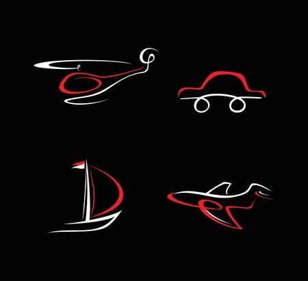 speed boat: Transporte iconos en negro. Ilustraci�n de blanco y rojo.