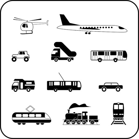 Set of isolated transportation icons on white background. Transport modes - airliner, train, bus, car, helicopter, crossover, etc.  Vector