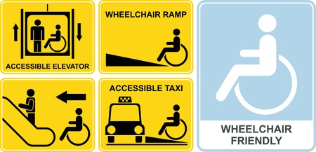 Accessible taxi, elevator, wheelchair ramp, escalator. Wheelchair friendly  Vector