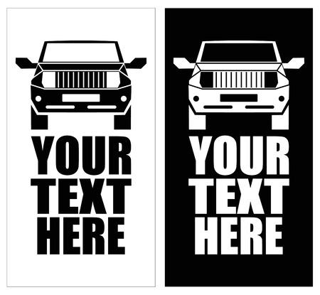 Die Geländewagen - Vektor-Illustration. SUV. Schwarz und weiß-Symbol. Kann als Logo verwendet werden. Platz für Text, Hintergrund.