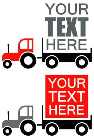 Tractor - vector icon, advertisement background. Place for any text. Red, grey and black illustration on white. Vector icon. Stock Vector - 9139035