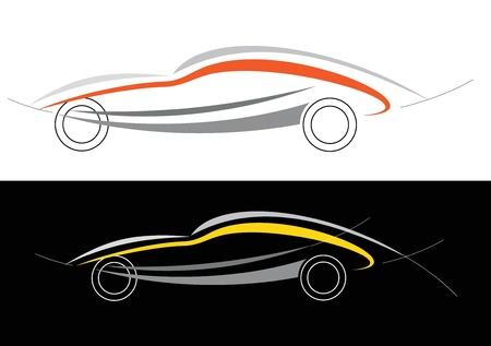 stylized design: Modern car. Can be used as logotype (logo). Stylized vector illustration on white and black background. Emblem, design element. Drawing of modern vehicle. Illustration