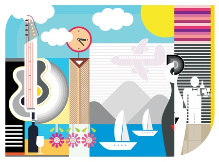 lady clock: Holiday travel - abstract vector collage. Can be used for advertising of tourist agencies, hotels, restaurants, etc. Illustration