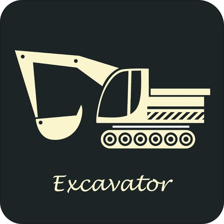 escavadeira: Excavator - vector icon. Construction Equipment.