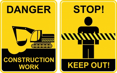 keep: Construction work, Keep out - signs, Construction area, Keep away, Danger, Caution - prohibited and warning vector signs. Black on yellow. Excavator digs a hole.