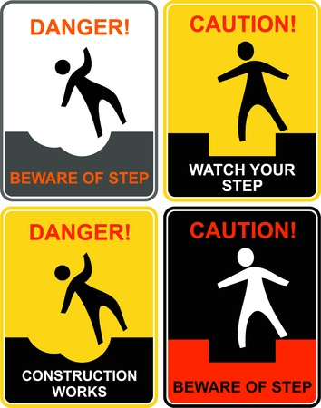 Beware your step - caution signs. Warning - go slow! Attention - construction works! Vector