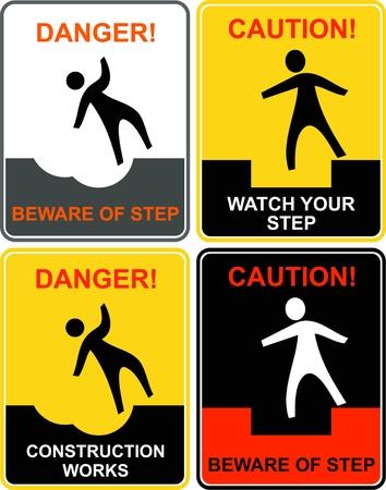 area restringida: Tenga cuidado con su paso - se�ales de precauci�n. Advertencia: ir lento! Atenci�n - construcci�n funciona!