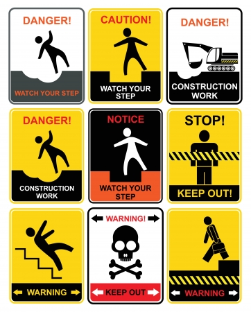 accident at work: Set of warning signs. Notice and caution. Illustration