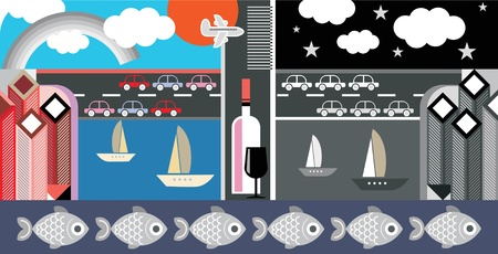 port wine: Night and day city