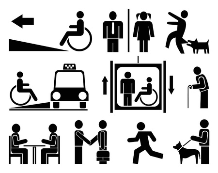 blind: People - set of vector pictograms. Black icons on white background. Signs, isolated design elements. Simple. Illustration